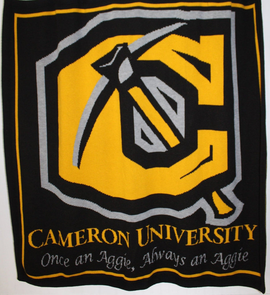 Cameron University Throw Blanket Vintage Acrylic Sweater Knit Aggies Logo