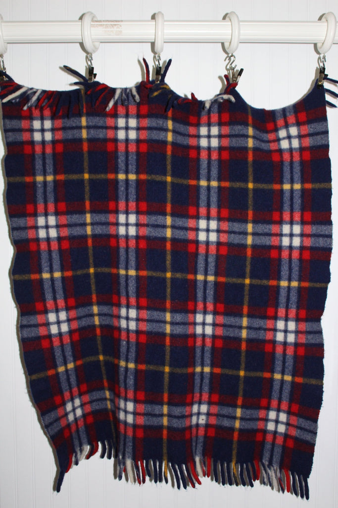 QUILTEX PRAM Wool Fringed Throw Small Blanket Tartan Red Blue Plaid dense