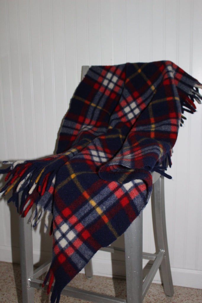 QUILTEX PRAM Wool Fringed Throw Small Blanket Tartan Red Blue Plaid stadium blanket