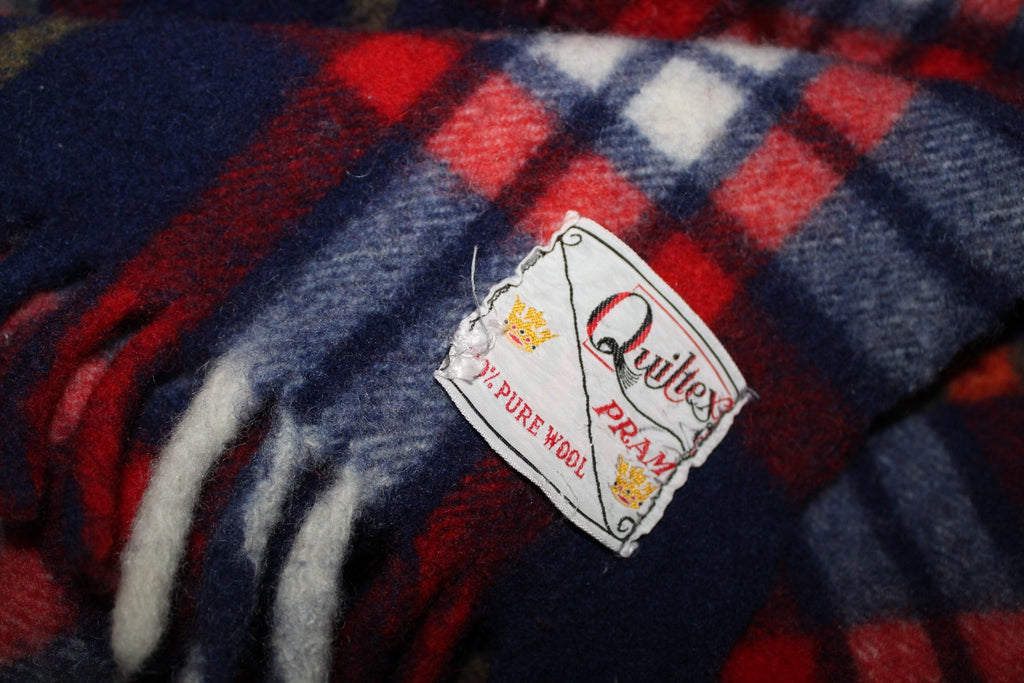 QUILTEX PRAM Wool Fringed Throw Small Blanket Tartan Red Blue Plaid baby blanket
