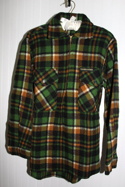 Wool Shirt Jacket FIORDLANDER New Zealand Size SM Pockets Zipper Showerproof Green Caramel Black Plaid