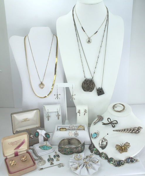 Estate Jewelry Lot Sterling 925 800 Silver 34 Pieces Mexico Breakell Abalone Danecraft PJM