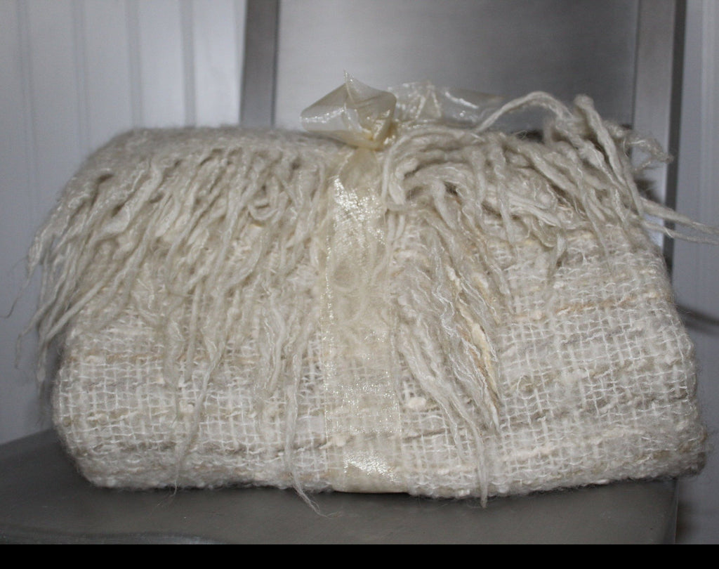 Avoca Ireland Fringed Shawl Small Throw Blanket Oatmeal Wool Blend