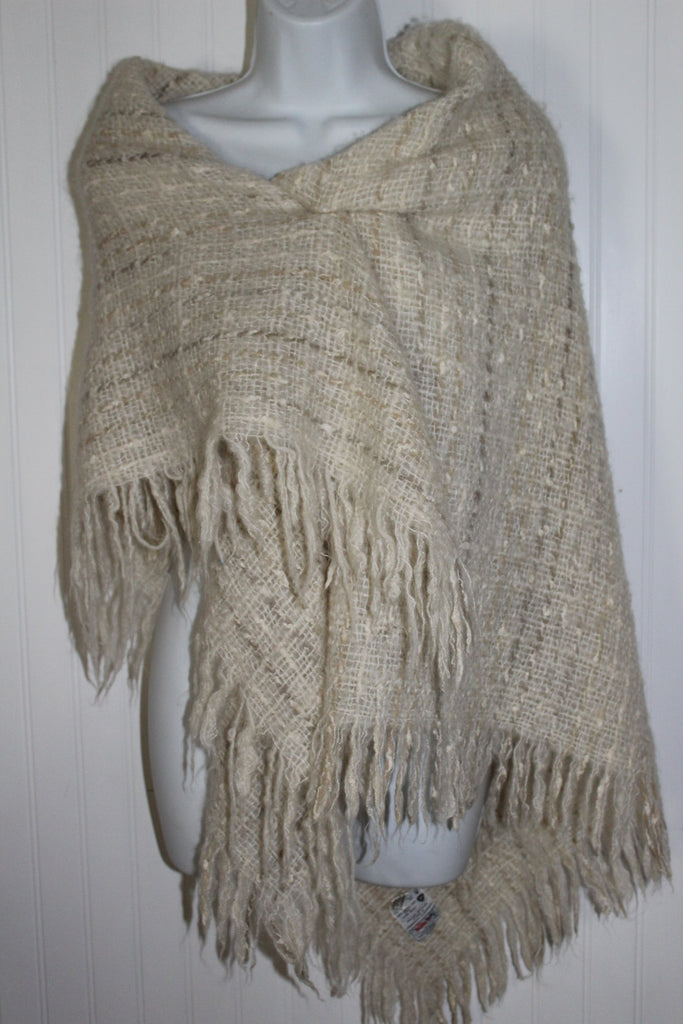 Avoca Ireland Fringed Shawl Small Throw Blanket Oatmeal Wool Blend bone