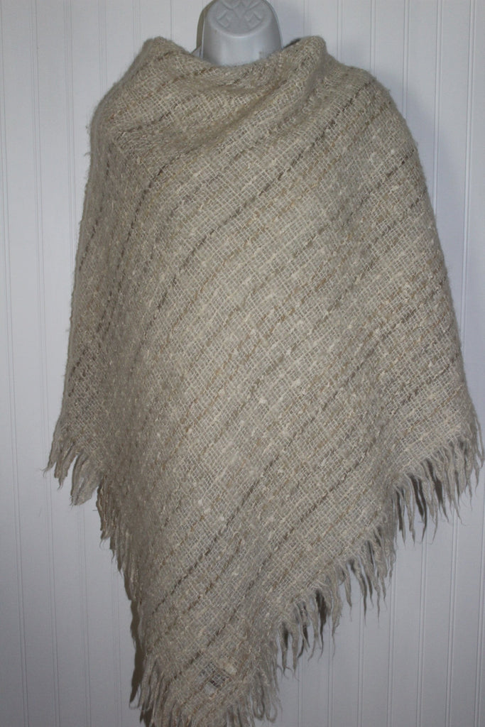 Avoca Ireland Fringed Shawl Small Throw Blanket Oatmeal Wool Blend ruana