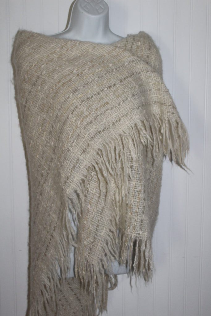 Avoca Ireland Fringed Shawl Small Throw Blanket Oatmeal Wool Blend irish wool