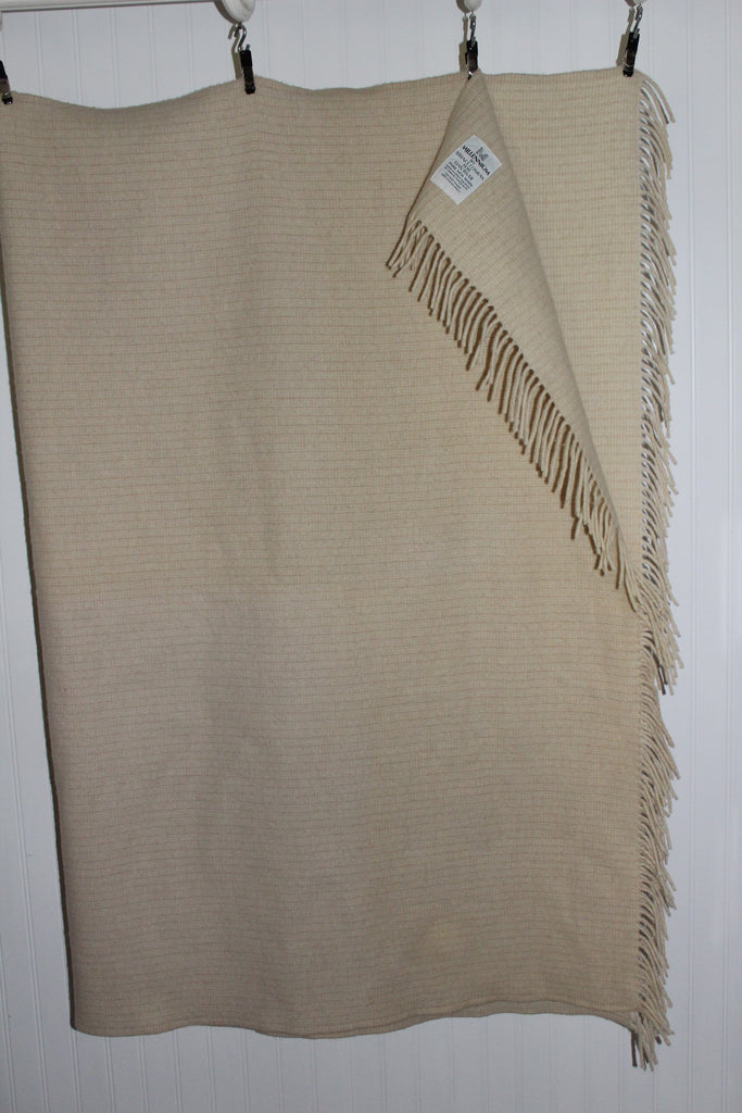 "Millennium Throw Blanket Fringed Sam Tweed & Co UK Terence Conran Oatmeal Wool 48"" X 63"" rare"