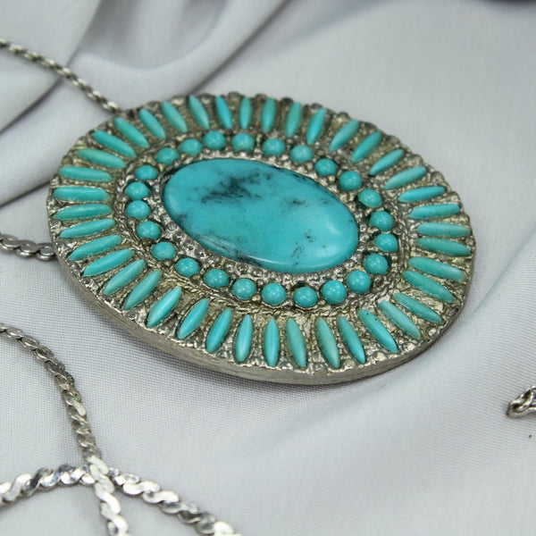 Vintage Faux Turquoise Necklace Dress Fur Clip on Sterling Chain Estate Item cowgirl