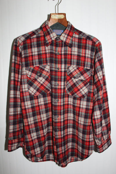 Pendleton Wool Shirt Wash Dry Vintage Old Wool Mark Red Grey Plaid