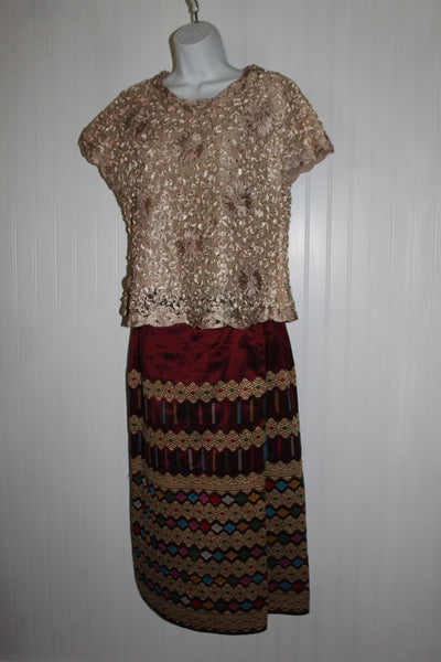 Thailand 2 Piece Wrap Skirt Woven Gold Thread Ribbon Embroidered Top Authenticate Custom Made