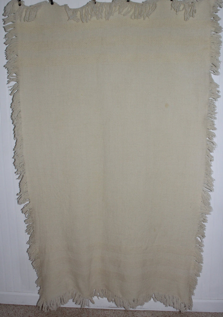 Wool Throw Hand Woven Ivory Fringe 4 Sides Churchill No Tag soft