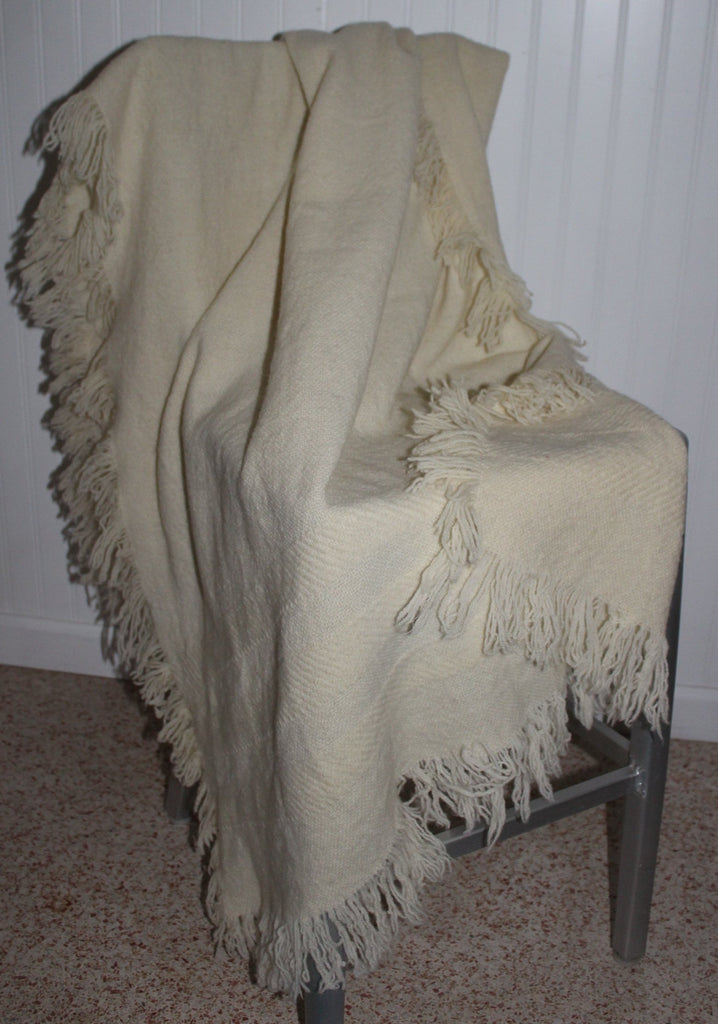Wool Throw Hand Woven Ivory Fringe 4 Sides Churchill No Tag luscious