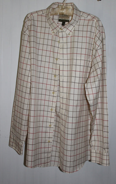 Cabelas Shirt Mens 2XL Tall Grande Windowpane Cotton Plaid Quality Beautiful