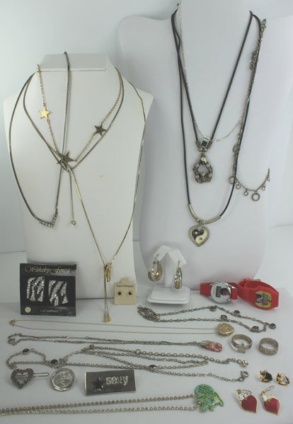 Jewelry Lot 25 Pieces Fashion Teen Kids Necklaces Earrings Rings