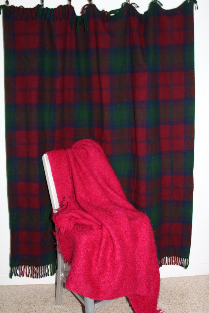 Special 2 Blankets Mohair Fuchsia Wool Plaid Purple Teal Use or DIY Project sale
