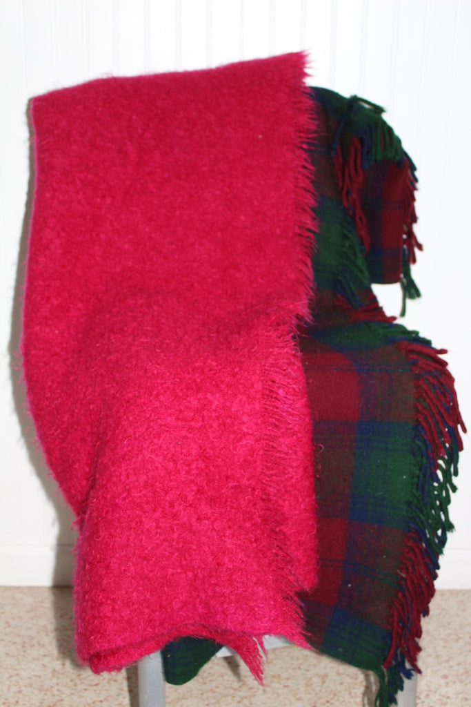 Special 2 Blankets Mohair Fuchsia Wool Plaid Purple Teal Use or DIY Project tartan