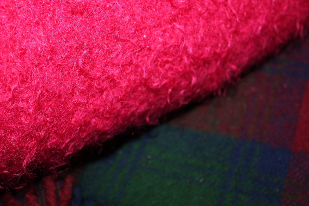 Special 2 Blankets Mohair Fuchsia Wool Plaid Purple Teal Use or DIY Project PARC