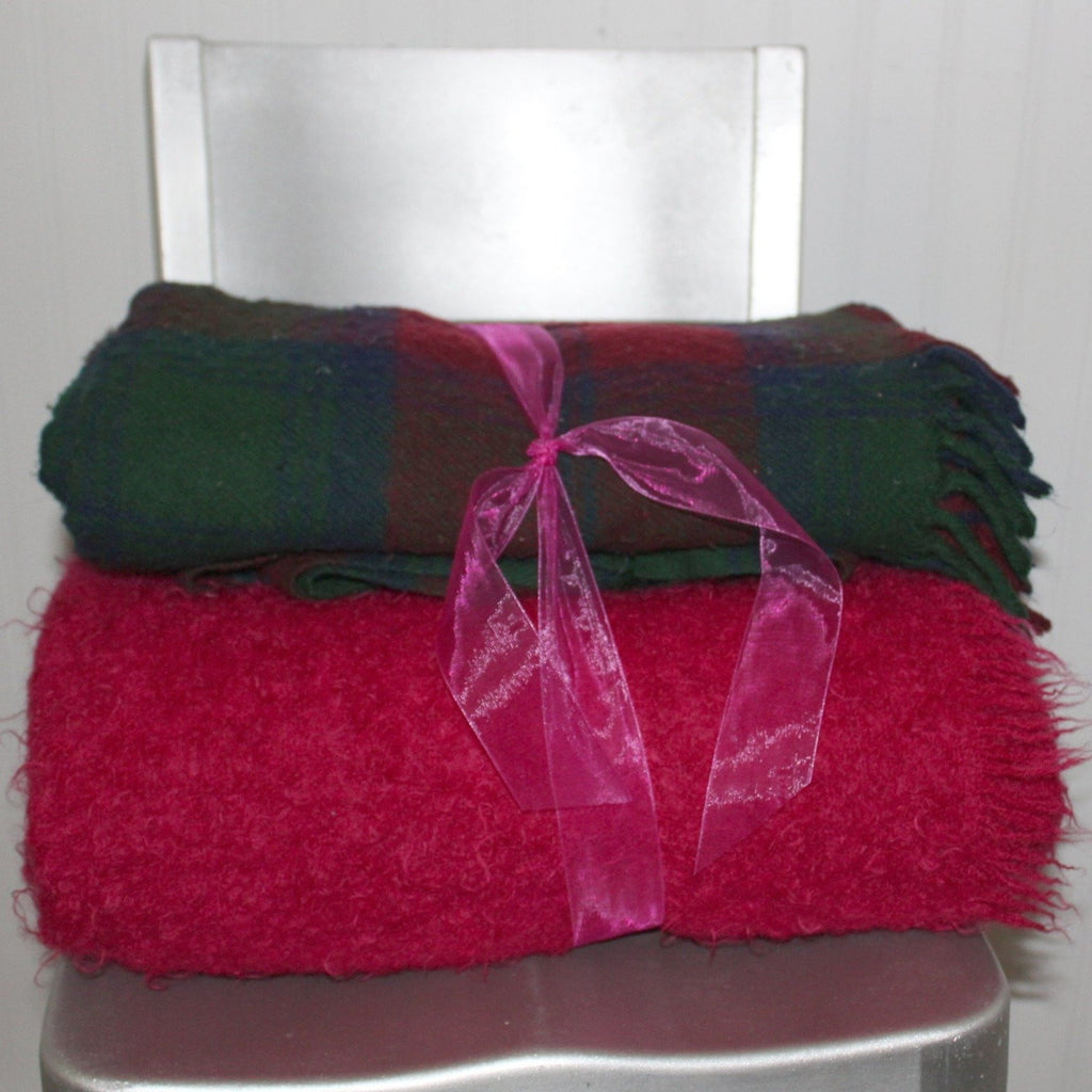 Special 2 Blankets Mohair Fuchsia Wool Plaid Purple Teal Use or DIY Project