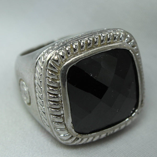 Sterling Ring Large Faceted Smoky Stone Rope Frame Heavy Ring Size 6 runway jewelry