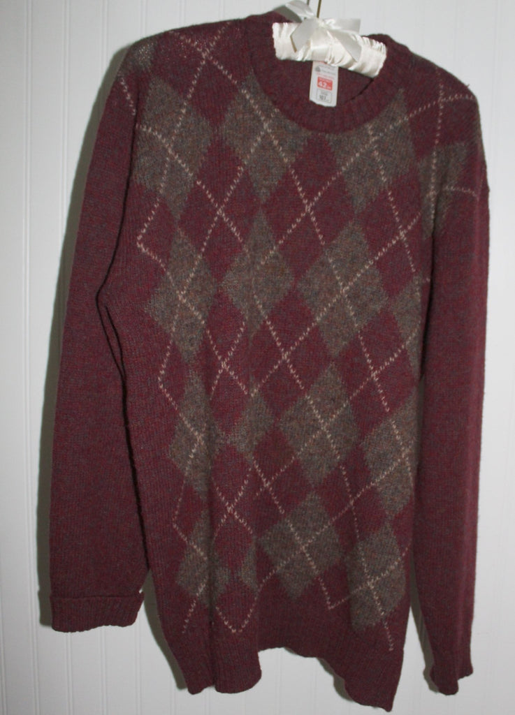 ST MICHAEL UK Sweater Pullover Jumper Maroon Argyle Pattern Size 42 Vintage united kingdom