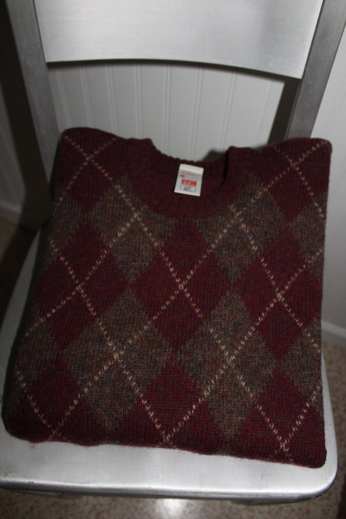 ST MICHAEL UK Sweater Pullover Jumper Maroon Argyle Pattern Size 42 Vintage