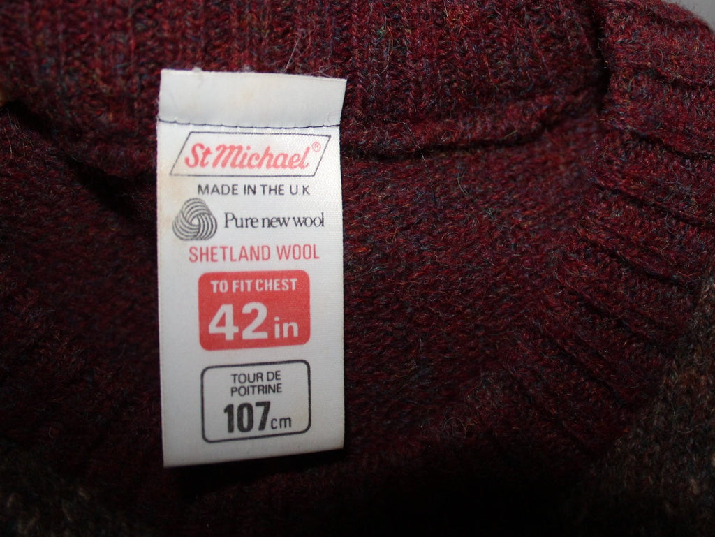 ST MICHAEL UK Sweater Pullover Jumper Maroon Argyle Pattern Size 42 Vintage Large