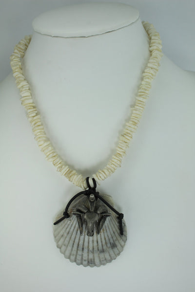 Natural Shell Necklace Unique Grey Scallop Pewter Long Horn Sheep Heishi Chain Masculine