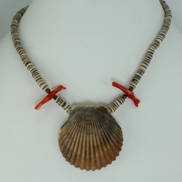 "Scallop Shell Necklace Brown Heishi Coral Birds Southwest 15 1/2"" Organic Natural"