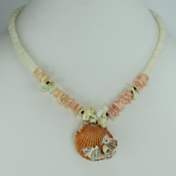 "Heishi Shell Necklace Orange Sherbet Natural Scallop White Heishi 16"" Sustainable"
