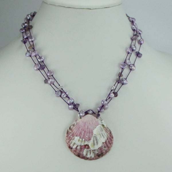 "Shell Necklace Purple Scallop Barnacles Beads 17"" Organic Natural florida"