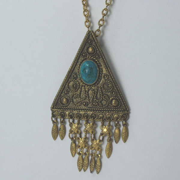 "Necklace Israel Turquoise Color Stone 24"" Long Necklace Triangular Pendant Filigree collectible"