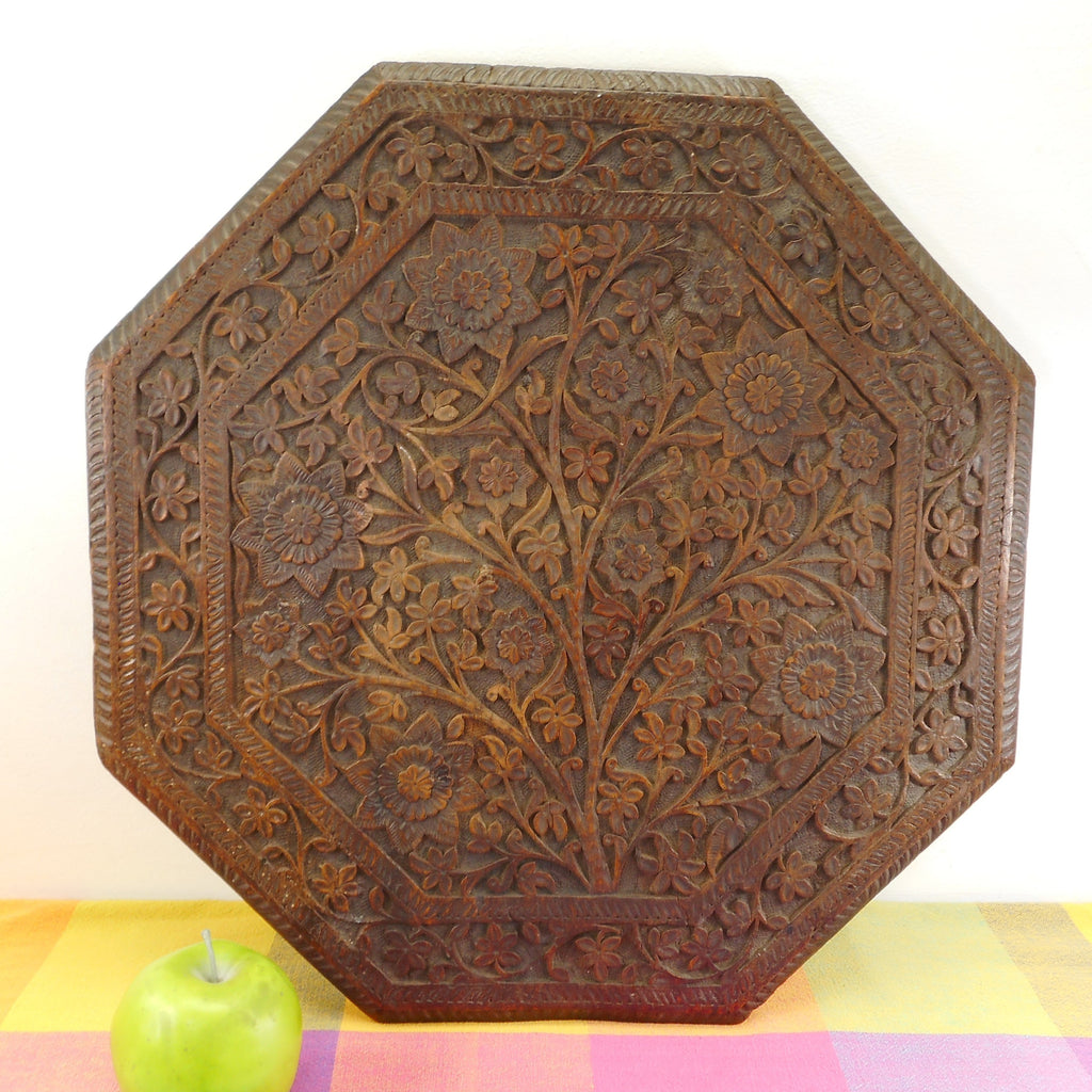 Anglo-Indian Vintage Antique Carved Wood Octagonal Table Top Flowers Tree