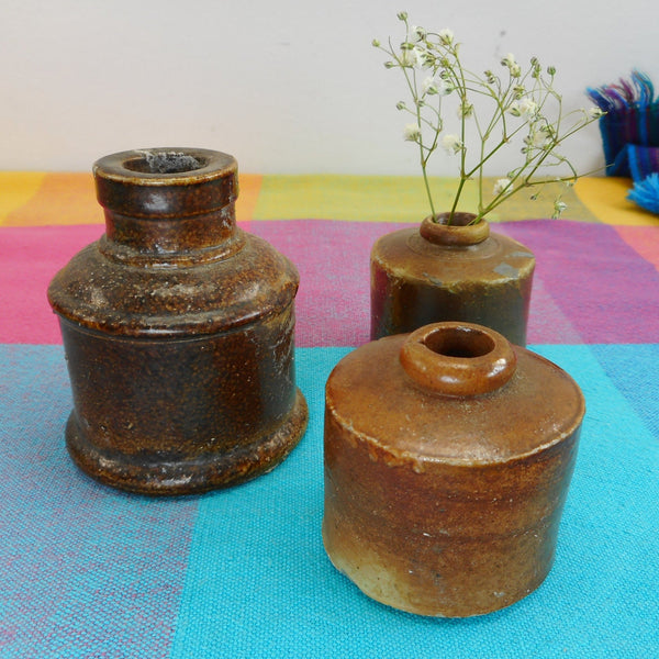 Antique Stoneware 3 Small Ink Bottles - Dining Table Flower Vase Decor