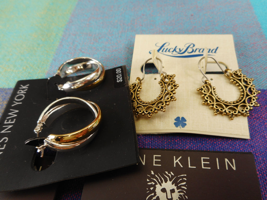 Macy's NWT 4 Lot Earrings - Anne Klein Jones NY Lucky - Gold Silver Tone Estate Jewelry
