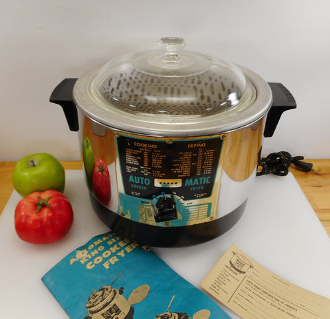 Roto- Broil Jay Kay 1950s Automatic Electric Cooker Deep Fryer - Turquoise Chrome