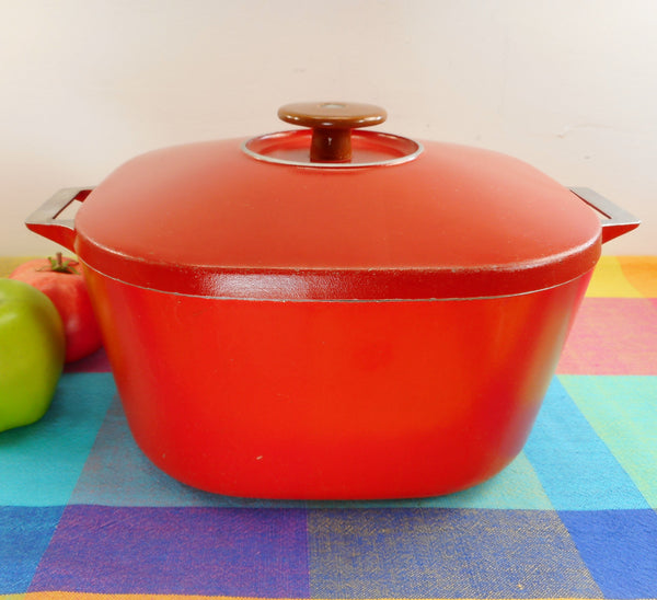 JCPenney Vintage MCM Aluminum Dutch Oven Stock Pot Red/Orange
