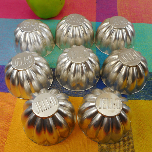 "JELL-O Brand Name Aluminum Molds 8 Lot - Custard Tart 3"" Mini Bundt"