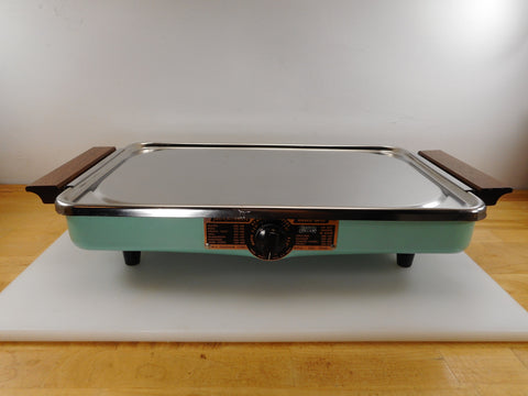 Jet-O-Matic Stainless Griddle Ranch Grill Retro Turquoise Aqua Mid Century Appliance