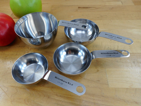 KitchenAid Stainless Steel Measuring Cup Set 1/4 1/3 1/2 3/4 1 - Used