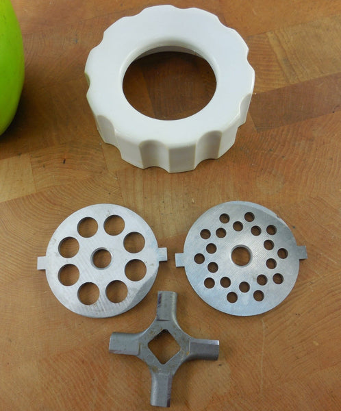 Vintage KitchenAid Mixer Attachment Used Replacement Part - Meat Grinder Cutter Discs & Collar