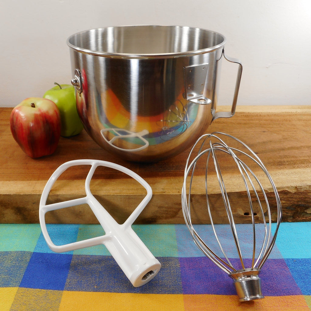 KitchenAid Stainless Lift Arm Mixer Stainless 5 Qt Bowl & Whisk, Paddle Beater