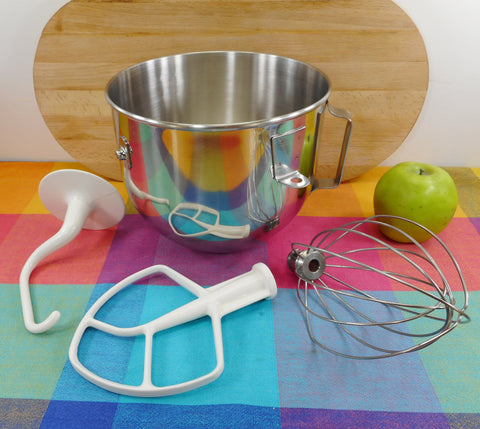 KitchenAid Stainless Lift Arm Mixer Stainless 5 Qt Bowl & Beater Set - Whisk Paddle Dough Hook Used