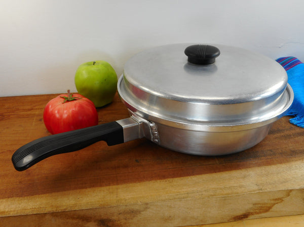 "Kitchen Craft USA Aluminum 10"" Fry Pan Skillet and Lid - Vintage Cookware"