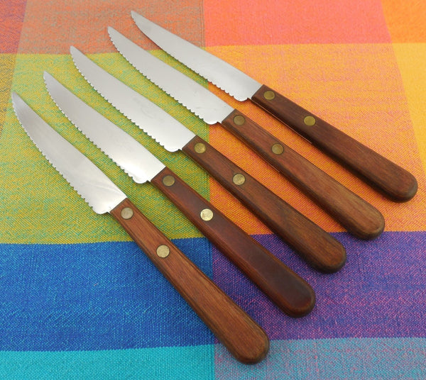Diamond Tested Stainless Steel 5 Steak Knives - Vintage Cutlery
