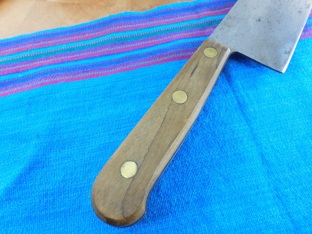 "Carbon Steel 12"" Blade Vintage Chef Kitchen Knife Wood Handle Full Tang view 10"