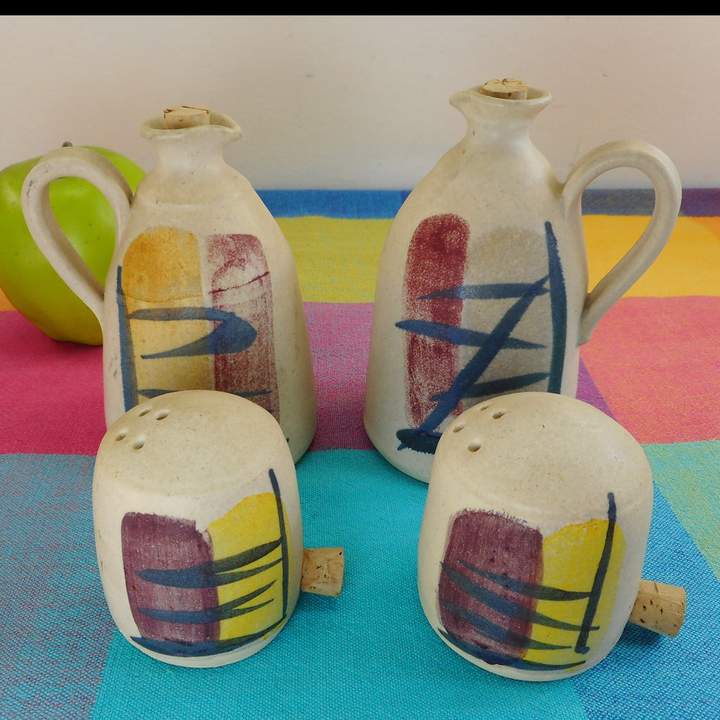 MCM 4 Pieces Pottery Shakers Cruet Jugs Signed Koch**e? Brush Stroke Roche Era