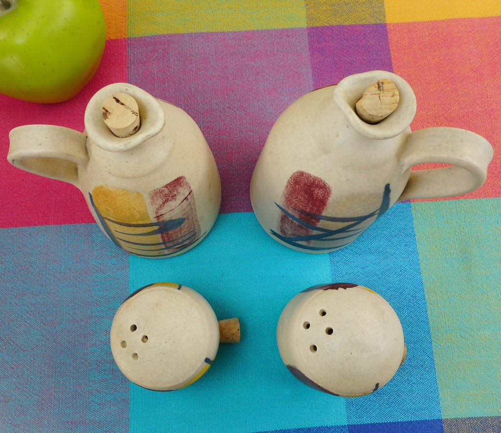 MCM 4 Pieces Pottery Shakers Cruet Jugs Signed Koch**e? Brush Stroke Roche Era... cork stopers