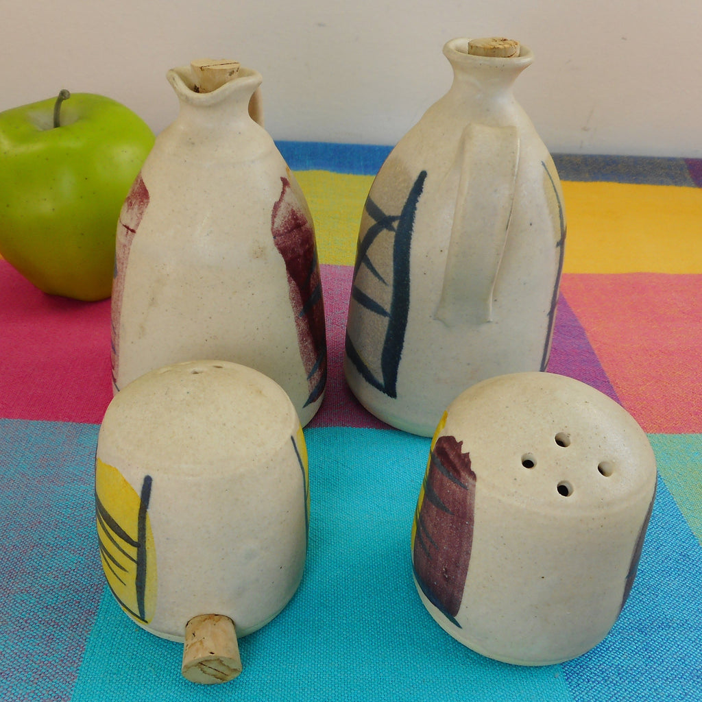 MCM 4 Pieces Pottery Shakers Cruet Jugs Signed Koch**e? Brush Stroke Roche Era Vintage