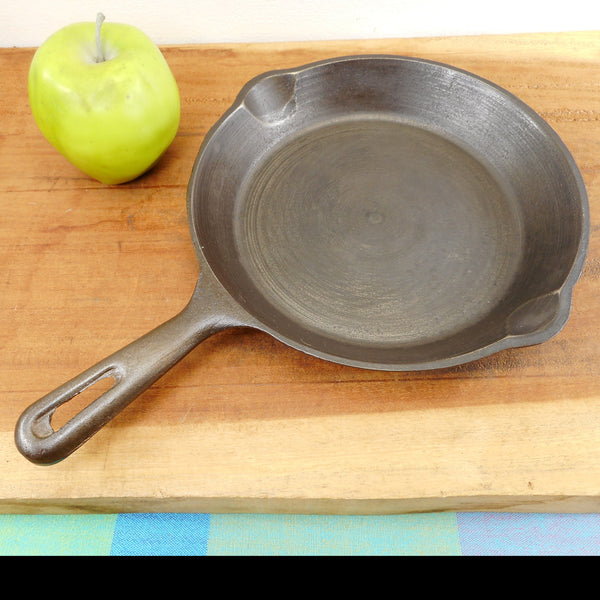 "Unbranded Korea 8"" Cast Iron Skillet 103 Pan - Restored Camping Knock-About"
