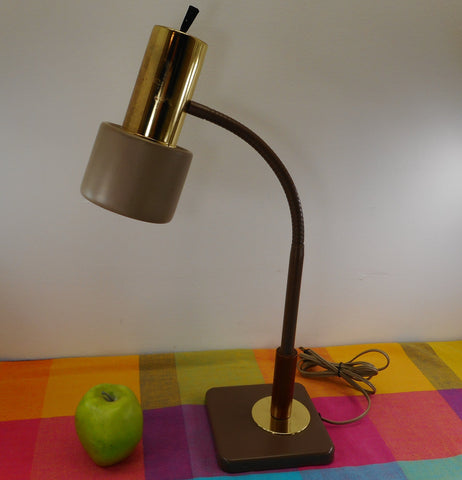 Keystone Gooseneck Desk Lamp Brown/Tan Brass Walnut Wood MCM